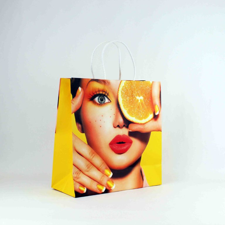 Offset printed twisted handle paper bag