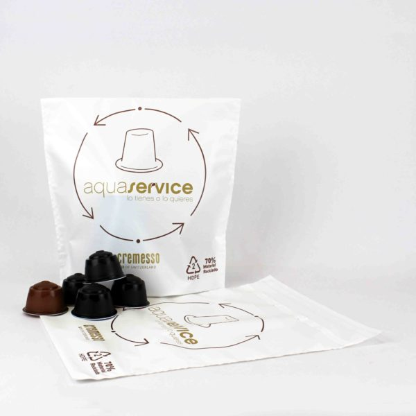 Recycled plastic bag for coffee capsules