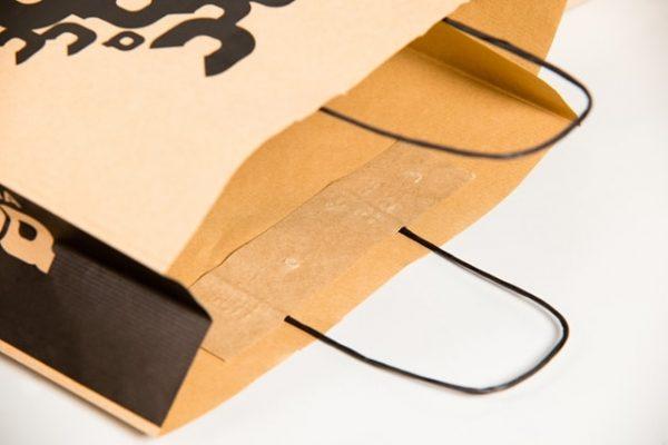 Bolsa de papel kraft asa retorcida detalle