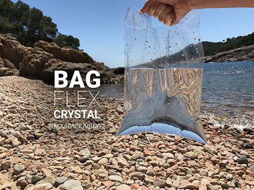 Bolsas de polipropileno cristal flexible bolsas de plástico transparente mar de fondo con mano